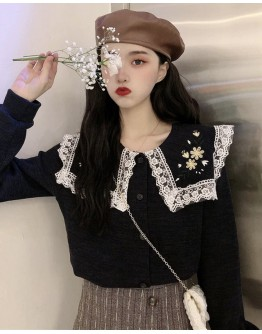 EMBRODIER LACE LONG-SLEEVED TOPS + FREE SHIPPING