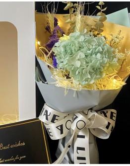 【V】VALENTINE DRIED BLUE HYDRANGEA LED GIFT BOX