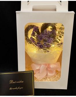 【V】VALENTINE DRIED MYOSOTIS HEART LED GIFT BOX