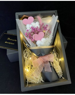【V】VALENTINE MINI PINK CLOUD BABYSBREATH LED GIFT BOX
