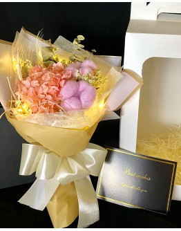 【V】VALENTINE DRIED HYDRANGEA PINK COTTON LED GIFT BOX