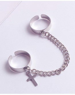 METAL CROSS CHAIN RING