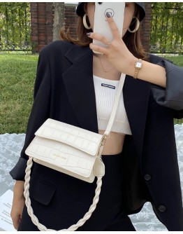 FAUX LEATHER FLAP-TOP CROSSBODY