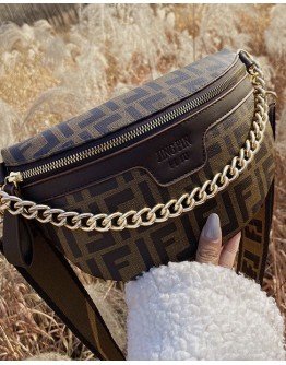 FREE SHIPPING FAUX LEATHER CHAIN ZIPPED WAIST-BAGS