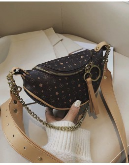 CHAIN FAUX LEATHER ZIPPER CROSSBODY