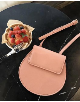 FAUX LEATHER ROUND CROSSBODY