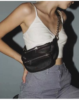 FAUX LEATHER ZIPPER WAIST-BAGS