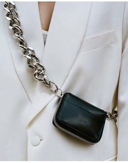 CHAIN FAUX LEATHER COIN MINI CROSSBODY