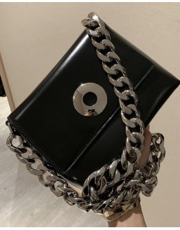 CHAIN FAUX LEATHER CROSSBODY
