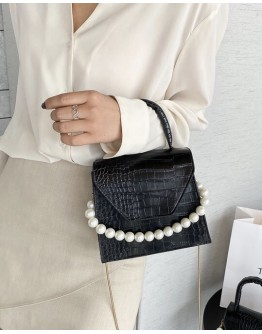 FREE SHIPPING CROC FAUX LEATHER PEARL CROSSBODY