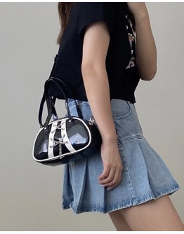 FREE SHIPPING CHAIN LACE-UP FAUX LEATHER CROSSBODY