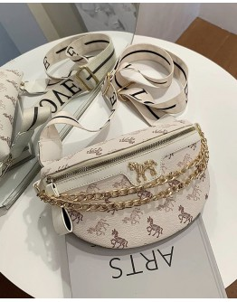 FREE SHIPPING LADIES CHAIN ZIPPER HORSE PATTERNED WAIST-BAGS