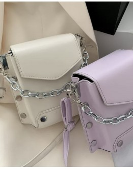 FAUX LEATHER CHAIN MINI CROSSBODY