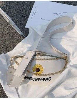 FREE SHIPPING FAUX LEATHER EMBROIDERY FLORA CHAIN WAIST-BAGS