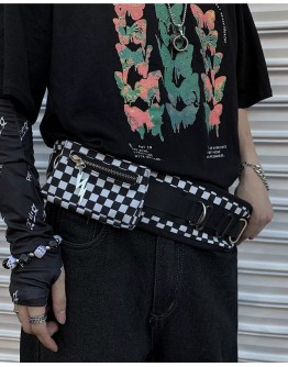 FREE SHIPPING UNISEX CHEQUER RINGS TIE-BELT MINI WAIST-BAGS