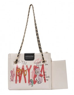 FREE SHIPPING FAUX LEATHER CHAIN SCRAWL CROSSBODY BAGS