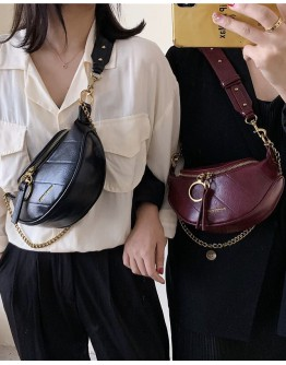 LADIES FAUX LEATHER CHAIN ZIPPER WAIST-BAGS