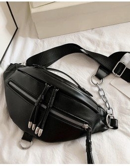 FAUX LEATHER ZIPPER CHAIN WAISTBAGS
