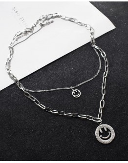 FREE SHIPPING UNISEX TITANIUM STEEL CHAIN DOUBLE NECKLACE
