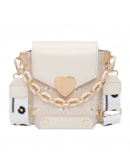FREE SHIPPING FAUX LEATHER HEART CHAIN FLORA CROSSBODY