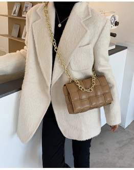 FAUX LEATHER WOVEN PATTERNED CHAIN CROSSBODY