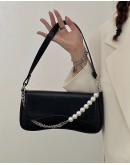 FREE SHIPPING FAUX LEATHER PEARL CHAIN SHOULDER-BAGS
