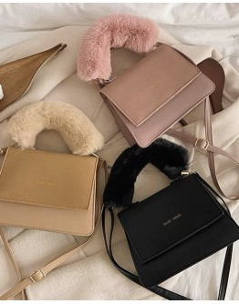 【GS】FREE SHIPPING FAUX LEATHER VELVET MINI CROSSBODY