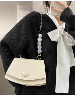 【GS】FREE SHIPPING FAUX LEATHER FAUX STONE CHAIN CROSSBODY