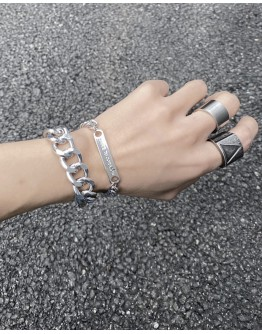 UNISEX BIG CHAIN + SMALL CHAIN BRACELET