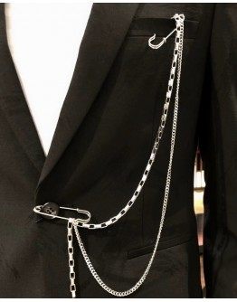 FREE SHIPPING UNISEX CHAIN PINS COAT ACCESSORIES