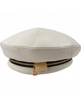 FREE SHIPPING UNISEX FUAX LEATHER ZIPPER PATTERN BERET