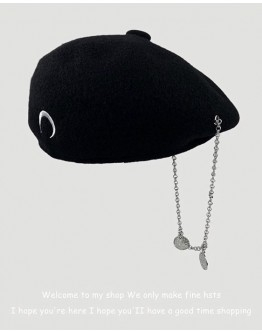 FREE SHIPPING UNISEX WOOLEN MOON CHAIN BERET