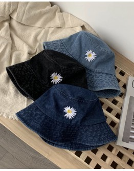 UNISEX FLORA EMBROIDER DENIM HAT