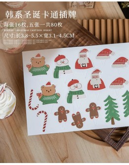 FREE SHIPPING CHRISTMAS CARTOON MINI CAKE DECORATION ACCESSORIES 80 PIECES