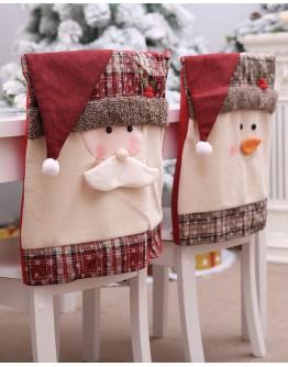 FREE SHIPPING CHRISTMAS SNOWMEN SANTA CLAUS CHAIR COVER 2 IN 1 SET