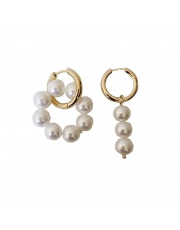 FREE SHIPPING FAUX PEARL METAL EARRING