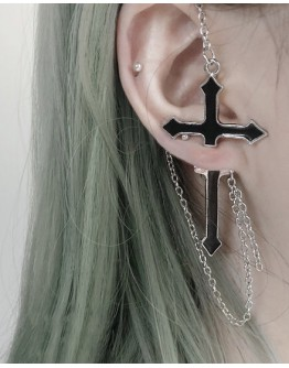 FREE SHIPPING 925 SILVERY CROSS CHAIN EARRING ( ONE ONLY )