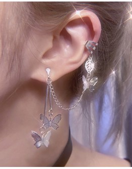 925 SILVERY BUTTERFLY CHAIN EARRING FOR 1 ONLY