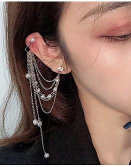 STEEL FAUX PEARL CHAIN EARRING