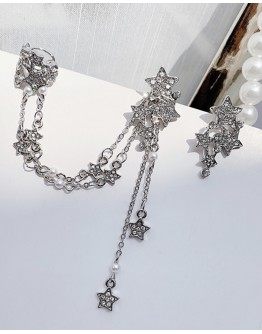 925 SILVERY FAUX GEM CHAIN STAR + FAUX GEM STAR EARRING