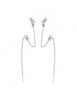 FREE SHIPPING 925 SILVERY FAUX GEM CHAIN EARRINGS