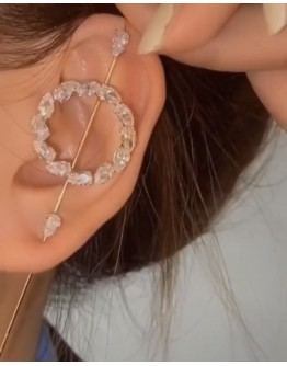 FAUX GEM METAL EARRINGS ( SINGLE )