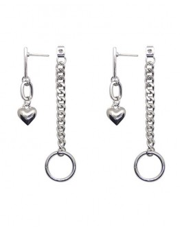 FREE SHIPPING TITANIUM STEEL HEART CHAIN EARRINGS