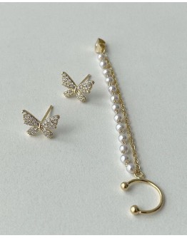 FREE SHIPPING 925 SILVERY BUTTERFLY FAUX GEM CHAIN EARRING