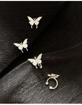 FREE SHIPPING 925 SILVERY FAUX GEM BUTTERFLY EARRINGS