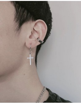 FREE SHIPPING UNISEX STAINLESS STEEL CROSS EARRINGS