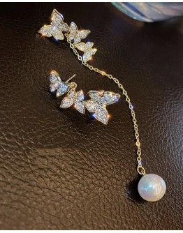FREE SHIPPING 925 SILVERY BUTTERFLY PEARL EARRINGS