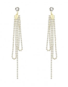 FREE SHIPPING 925 SILVERY FAUX GEM LONG-LINE EARRING