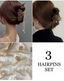 FREE SHIPPING METAL BUTTERFLY PEARL CHAIN HAIRPINS 3 IN 1 SET
