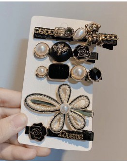 FREE SHIPPING CLASSICS FAUX GEM PATTERNS 5 IN 1 SET HAIRPINS